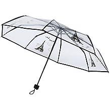 Shiningup Paraguas Transparente 3 Pliegues Negro Paris Eiffel Tower Paraguas Transparentes
