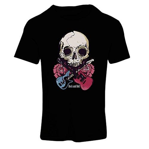 lepni.me Camiseta Mujer Guitarras, Calavera, Rosas - Amantes del Concierto de Rock & Roll (Small Negro