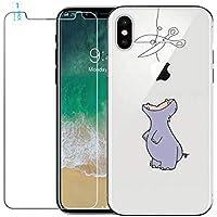 Funda iPhone X + Protector de Pantalla, WindTeco Dibujos Animados Funda Cristal Claro Transparente Silicona Case TPU Bumper Case Shock-Absorción Ultra-Delgado Anti-Arañazos Cáscara Protectora para Apple iPhone X, Hipopótamo