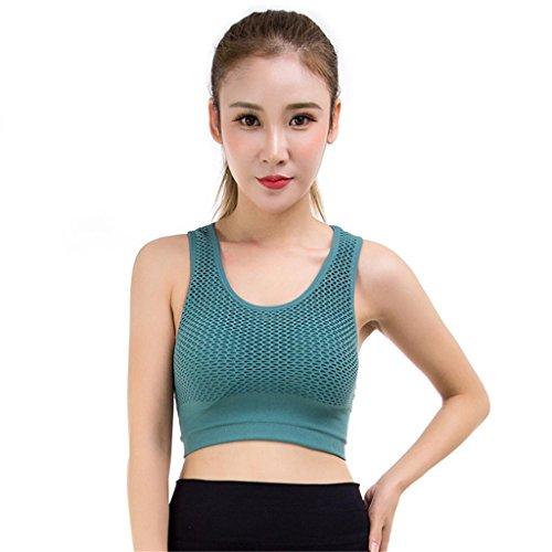 KLDDZQ Soutiens-gorge de sport Soutien-gorge de sport pour femmes Anti-vibration sous-vêtements fitness soutien-gorge anti-retombant recueillir sec rapide soutien-gorge green