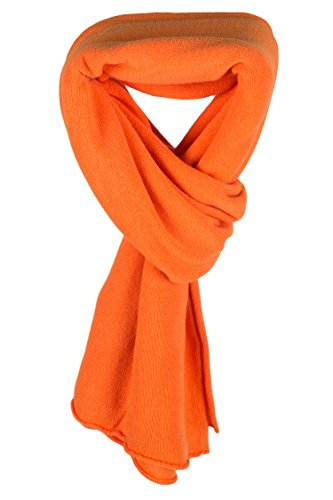 Love Cashmere Damen-Umschlagtuch 100% Kaschmir - Orange - Handgefertigt in Schottland - UVP €300 -