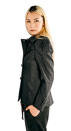 Musterbrand Dragon Age Jacke Damen Seeker Peacoat Wollmantel Grau 34 (XS) - 6