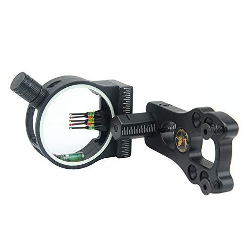 Wankd Bow Sight FrüherCompoundbogen Field Archery Sight 5-Pin-Visierleuchte Pfeilauflage Einstellbarer Clicker mit LED-Licht (Schwarz)
