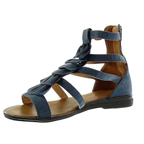 Angkorly Damen Schuhe Sandalen Mule - Römersandalen - Fransen - Multi-Zaum - String Tanga Blockabsatz 2.5 cm Blau