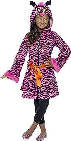 Smiffys, Kinder Mädchen Freches Zebra Kostüm, Jacke mit Tier-Kapuze und Gürtel, Größe: L,