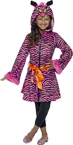 Smiffys, Kinder Mädchen Freches Zebra Kostüm, Jacke mit Tier-Kapuze und Gürtel, Größe: L, (Kostüm Mädchen Für Zebra)