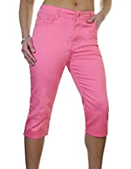 ICE (1510-2) Pantacourt en Jeans Extensible avec Diamante Rose Grande Taille
