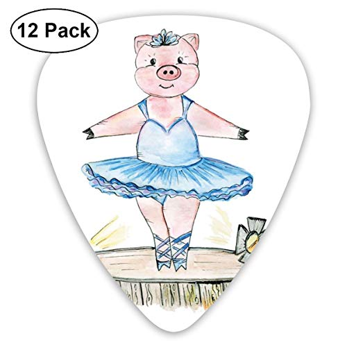 Celluloid Guitar Picks - 12 Pack,Abstract Art Colorful Designs,Pig Illustration With Ballet Outfit On Stage Doodle Pencil Sketch Posture,For Bass Electric & Acoustic Guitars.