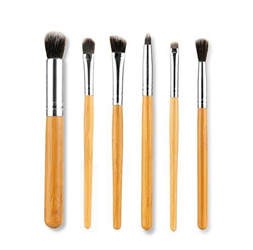 Incendemme 6pcs Augenpinsel Pinselset Schminkpinsel Kosmetikpinsel Bambus Pinsel Make Up Tool (Kabuki Karneval Kostüm)