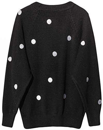 Vogueearth Femme's Longue Manche Classic Polka Dots Knit Cardigan Sweater Chandail Tricots Noir