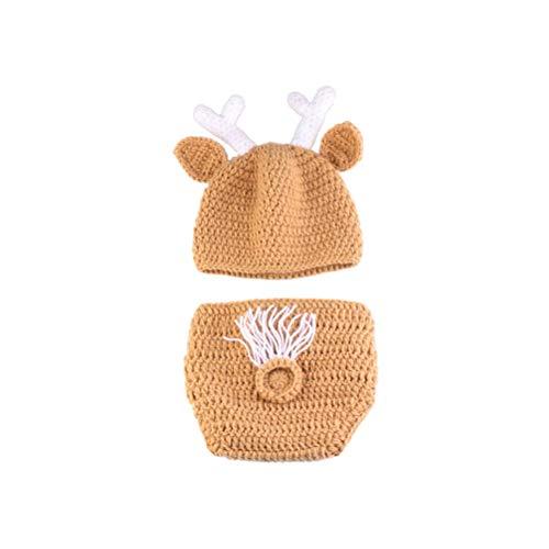 Rentier Baby Kostüm - YeahiBaby Neugeborene Fotografie Outfits Rentier Kostüm Weihnachten Bekleidungsset Baby Stricken Fotografie Requisiten