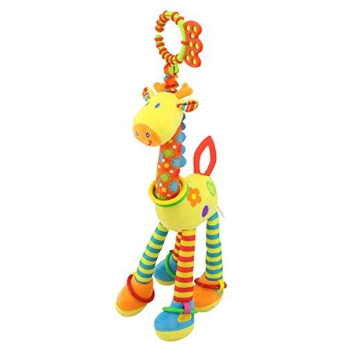 FYGOOD Baby Aktiv-Anhänger, Plüschtiere Kleinkindspielzeug, Kinderwagen Spielzeug gelbe Giraffe 46CM