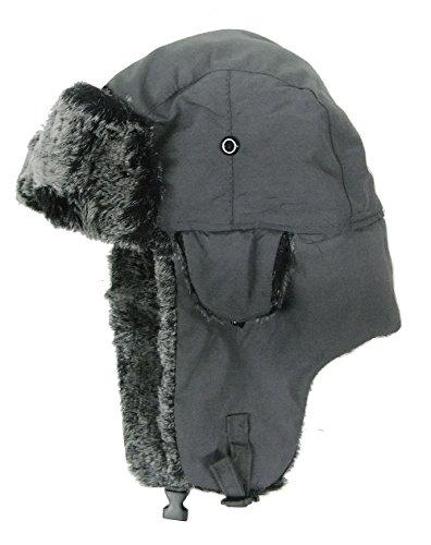 modestone-warm-trapper-bomber-hat-faux-fur-trim-o-s-dark-grey