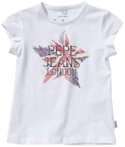 Pepe Jeans Beverley - Maglietta, colletto tondo, manica corta, bambina, Bianco (Weiß (WHITE)), 116 cm