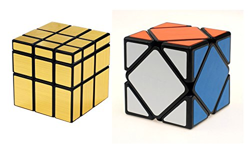 Emob Magic Rubik Gold Mirror & Skewb Cube Combo Puzzle Cube Brainstorming Game Toy with Black Base & Neon Color