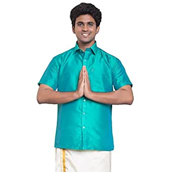 THANGAMAGAN Mens Shirt Aqua Size 36