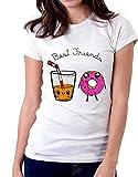 Tshirt Divertente Donna Best Friends Succo di Frutta e Donut - Idea Regalo per...
