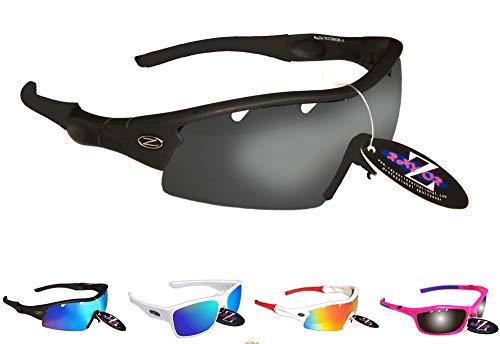 Rayzor professionali leggeri UV400 Nero Sport Wrap ciclismo occhiali da sole, con un 1 pezzo di fumo scaricato obiettivo rispecchiato.