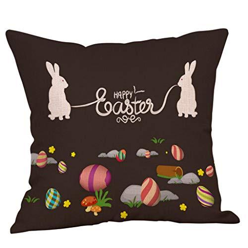 2019 nuovo elegante smart easter piazza 45cm×45cm/18×18 pollice lino coniglio colore uovo stampa morbido divano federa letto decorazione della casa cuscino unico by wudube