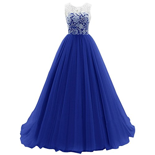 Vertvie Damen A Linie Spitze Chiffon Hochzeitskleider Brautkleid Tuell Abendkleid Frauen Ärmellos Maxikleid Ballkleid Cocktail Party kleid (S/EU 34-36, Dunkelblau) (Prinzessin Kleid Frauen)