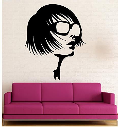 jqpwan Schönheitssalon Wandaufkleber Mädchen Brille Mode Stil Vinyl Applique 57 * 70 cm