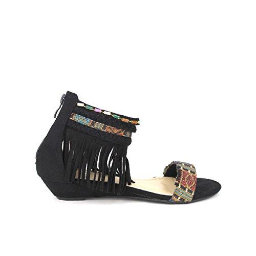 Cendriyon, Compensée Noire ETHANKA Chaussures Femme Noir