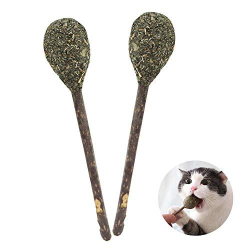 Pawaca - 2 piezas de pelotas de gato de limpieza de dientes – Palo de bola de menta interactivo juguete gatos natural matatabi Catnip Lollipop Juguetes – Snacks Chew Sticks jugando molar juguete mascota gatito