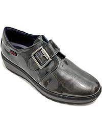 5f03d83d Notton 2805 - Zapatos Clásicos Mujer De Piel Acharolada Brillante Plateada  con Velcro Y Detalle Platilla