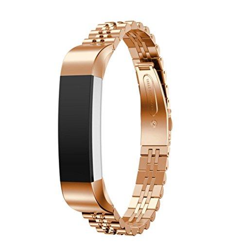 lanowo Ersatz-Armband Edelstahl Watch Band Wrist Strap Armband für Fitbit Alta HR/Fitbit Alta Smart Watch, rose gold