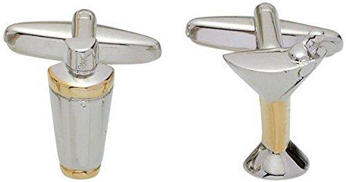 Preisvergleich Produktbild Gold / Silber-Cocktail-Shaker und Glas Manschettenknöpfe von Zennor