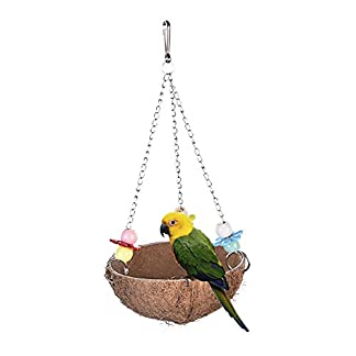 awhao Bird Nest Toys Parrot Swings Hanging Toy Stand Pet Chew Toy Bite Toys for Budgies Parakeet Cockatoo Cockatiel Conure Cage Toy 417pZAUkHFL