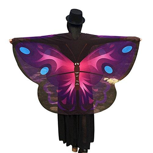 Feen Lila Kostüme (Amcool Schön Schmetterlings Flügel Schal✿✿ Chiffon Schals Feenkostüm Damen Cosplay Kimono Strickjacke (160*140cm, Lila)