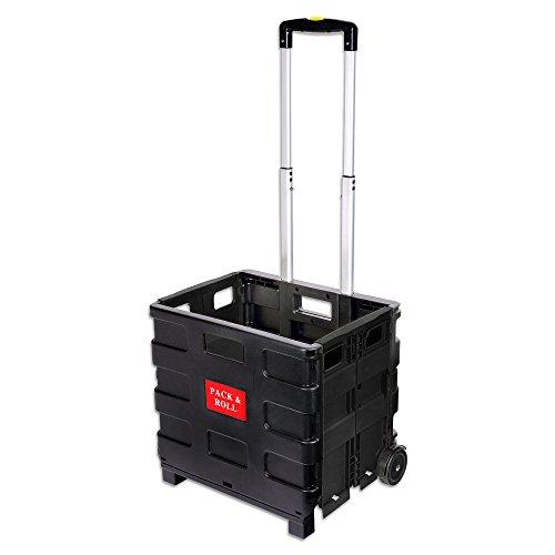 Schramm Einkaufstrolley schwarz faltbar klappbar Einkauf Trolley Korb Klappbox Einkaufstasche Einkaufswagen Klappboxen mit Teleskopgriff Shopping Trolley