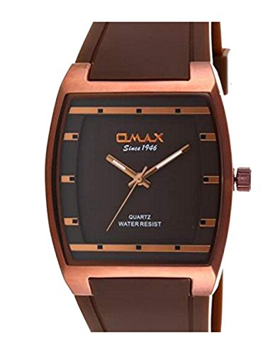 Neue Mode Kleid Stil Omax Herren Handgelenk Uhr braun Silikon Armband braun Analog Zifferblatt Quarz