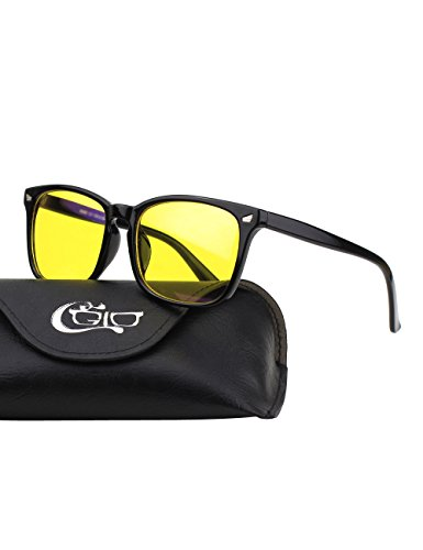 ht-blockierende Brille, Anti Blendung Müdigkeit Blockt Kopfschmerzen Augenschmerzen, Sicherheitsbrille für Computer / Telefon / Tablets, Vintage Oversized Bold Large Square Rahmen, Gelbe Gläser (Gelbe Gläser)