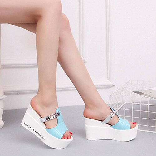 High Heel Flip Flop,Kaiki Frauen Komfort High Heels Pantoffeln Sandalen Plattform Shopping Flip Flop Blue
