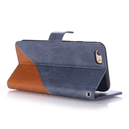 Uming® spéciales Séries Motif Colorful Imprimer cas PU Holster Case ( Hit color Purple & Black - pour IPhone 5S 5 5G SE IPhone5S IPhoneSE ) Artificial-cuir flip avec support Stander titulaire de la ca Hit color Deep Blue & Brown