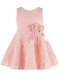 Bonjouree Filles Robe Sans manches Pleine fleur de dentelle Princesse Robes 0-7 ans