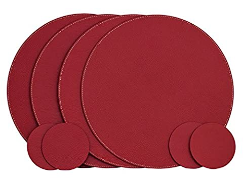 Nikalaz Set of Round Placemats and coasters, 4 table mats and 4 coasters, 33 cm (Pelle Marrone 4 Coaster)