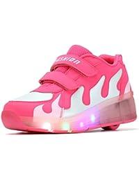 SGoodshoes Kinder Junge Mädchen Led Schuhe Mit Rollen Herren Skateboard Rollschuhe Damen mit ein Rad 7 Farbe Farbwechsel Sneaker