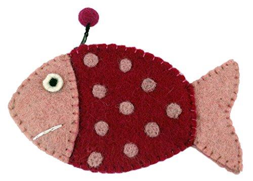 Guru-Shop Portemonnaie Fisch, Herren/Damen, Rosa-pink, Wolle, 9x16x1 cm, Filz Portemonnaies -