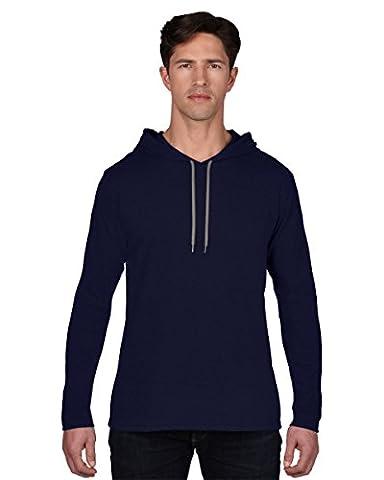 Anvil Adult L/SL Hooded T-Shirt Colour=Navy/Dark Grey