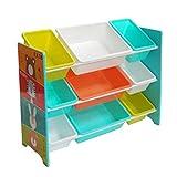 Style home Kinderregal Spielzeugregal mit 9 Boxen Kinder Aufbewahrungsregal Bücheregal Bär,Hase,Tiger und Löwe 84 x 60 x 30 cm