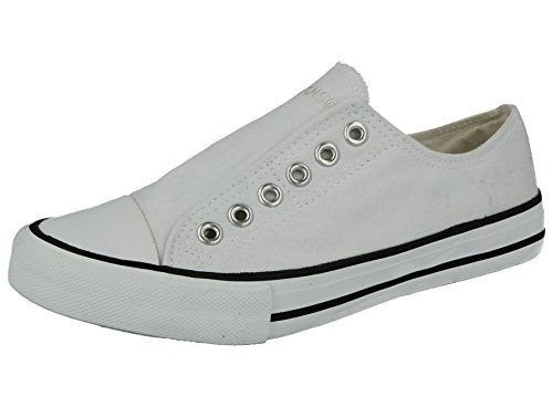 4bb752290f6a No Sense Ladies 625801 Canvas Slip On Elastic Eyelet Pumps All Star Sneakers  Trainers Shoes Size 3-9 (UK 7 EU 40