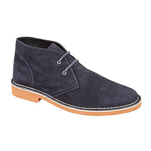 Roamers para Hombre 2Eye Suede Cuero Desert Botas, Color Azul, Talla 45.5