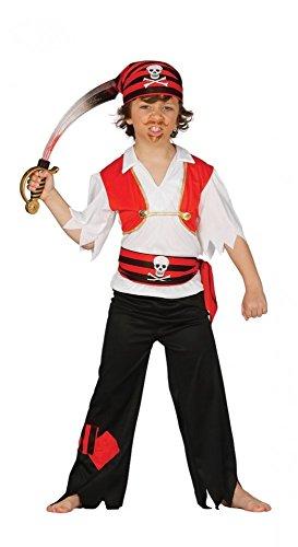 shoperama Jungen Kinder-Kostüm Totenkopf-Pirat Schwarz/Weiß/Rot Piratenkostüm Kinder, Kindergröße:116 - 5 bis 6 ()