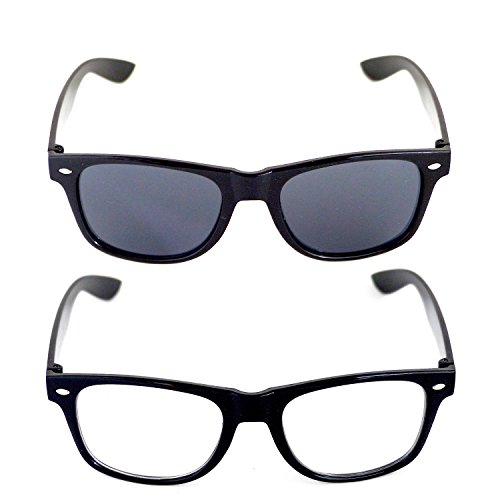 Wayfarer Nerd-Brille 2er-Set Club-Brille Sonnen-Brille Lese-Brille Motto-Party Motto-Brille...