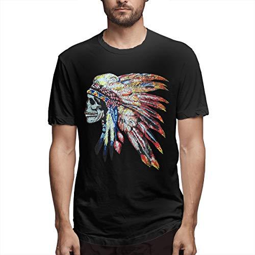 Bunte Chef Kopfschmuck Herren Kurzarm Shirts T Sport Cool T Shirt Tees Mode lässig (3XL,schwarz) -