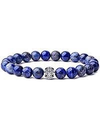 Naturelles 8mm Pierres Bracelet précieuses de guérison MetJakt avec Cristal Bangle en perles avec pendentif en Argent Sterling 925 Pendentif Double Bonheur