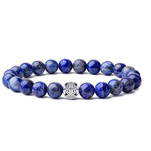 Natürliche 8 mm Edelsteine MetJakt Heilung Crystal Stretch Perlen Armband Armreif mit 925 Sterling Silber Double Happiness Anhänger (Lapislazuli)